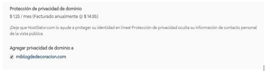 Protección de Privacidad de dominio Hostgator
